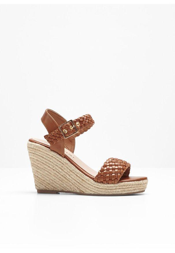 Brązowe sandały bonprix w paski, z paskami