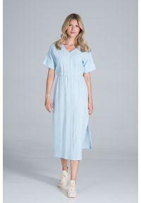 Figl - Bawełniana Długa Sukienka z Rozcięciem na Boku - Błękitna. Kolor: niebieski. Materiał: bawełna. Długość: maxi