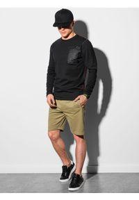 Ombre Clothing - Longsleeve męski z nadrukiem L130 - czarny - XXL. Kolor: czarny. Materiał: bawełna, tkanina. Długość rękawa: długi rękaw. Wzór: nadruk
