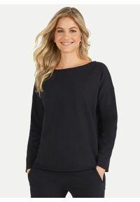 Czarna bawełniana bluza oversize Juvia. Kolor: czarny. Materiał: bawełna. Styl: elegancki