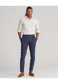 Ralph Lauren - RALPH LAUREN - Lniana koszula Slim Fit. Typ kołnierza: polo. Kolor: szary. Materiał: len. Długość rękawa: długi rękaw. Długość: długie. Wzór: haft #5