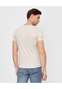 Ralph Lauren - RALPH LAUREN - Męska koszulka Slim Fit. Typ kołnierza: polo. Kolor: beżowy. Materiał: bawełna. Wzór: kolorowy, haft