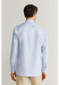 Niebieska koszula Mango Man casualowa, ze stójką, na co dzień