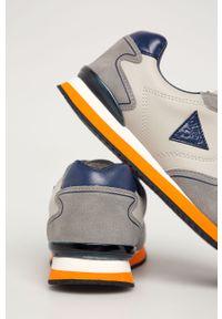 Szare buty sportowe Guess Jeans z cholewką, na sznurówki, z okrągłym noskiem