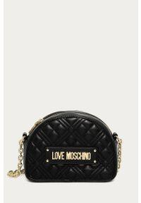 Czarna listonoszka Love Moschino z aplikacjami, mała, z aplikacjami