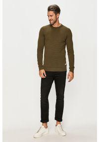 Oliwkowy sweter PRODUKT by Jack & Jones casualowy, z okrągłym kołnierzem