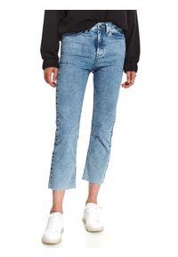 TOP SECRET - Oprane spodnie jeansowe 7/8. Okazja: na co dzień. Kolor: niebieski. Materiał: jeans. Sezon: jesień. Styl: sportowy, casual
