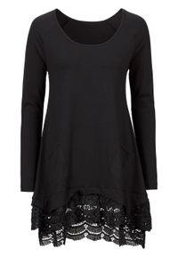 Tunika shirtowa z koronką, długi rękaw bonprix czarny. Kolor: czarny. Materiał: koronka. Długość rękawa: długi rękaw. Długość: długie. Wzór: koronka