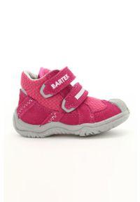 Różowe buty sportowe Bartek na rzepy, z cholewką