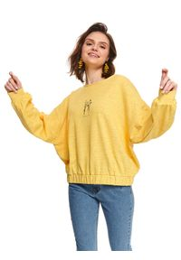 Żółta bluza TOP SECRET casualowa, z długim rękawem, w kwiaty