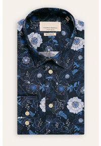 Niebieska koszula Tailored & Originals na co dzień, w kwiaty, casualowa
