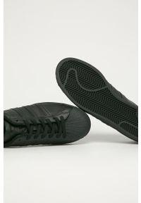 Czarne sneakersy adidas Originals Adidas Superstar, z okrągłym noskiem, na sznurówki, z cholewką