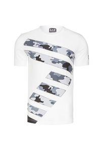 Biały t-shirt EA7 Emporio Armani z okrągłym kołnierzem, w kolorowe wzory
