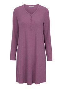 Cellbes Prążkowana koszula nocna Fioletowy melanż female fioletowy 62/64. Kolor: fioletowy. Materiał: prążkowany. Długość: długie. Wzór: melanż