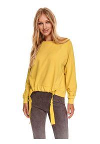 TOP SECRET - Luźna bluza z wiązaniem. Kolor: żółty. Materiał: dzianina. Długość rękawa: długi rękaw. Długość: długie. Wzór: aplikacja. Sezon: jesień