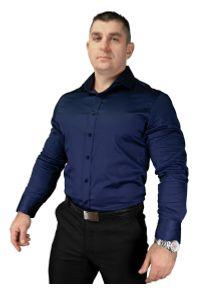 Niebieska elegancka koszula Atleto z długim rękawem, z włoskim kołnierzykiem