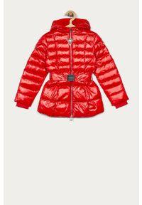 Czerwona kurtka Guess Jeans z kapturem, casualowa