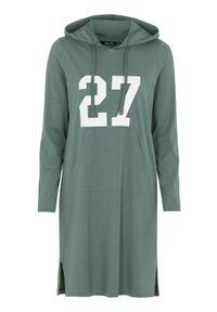 Zielony sweter Happy Holly z nadrukiem, sportowy, z kapturem, długi
