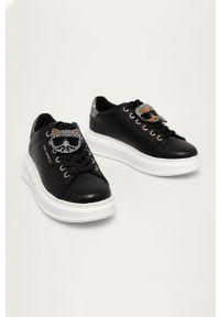 Czarne sneakersy Karl Lagerfeld na obcasie, na sznurówki, z cholewką, na średnim obcasie