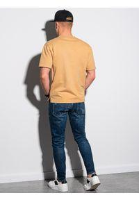 Ombre Clothing - T-shirt męski bawełniany S1379 - musztardowy - XXL. Kolor: żółty. Materiał: bawełna. Długość: krótkie. Wzór: geometria #3