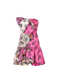 """Pinko Sukienka """"Poetica"""". Typ kołnierza: kokarda. Materiał: tkanina. Wzór: nadruk. Typ sukienki: dopasowane. Długość: mini"""