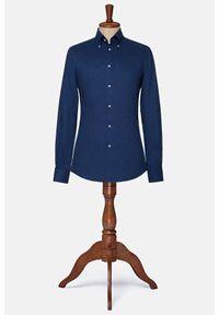 Lancerto - Koszula Granatowa Broadway. Typ kołnierza: button down. Kolor: niebieski. Materiał: bawełna, tkanina, materiał, jeans. Styl: vintage, elegancki