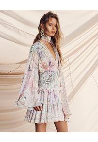 Camilla - CAMILLA - Jedwabna spódnica z kryształami. Kolor: biały. Materiał: jedwab. Wzór: kwiaty, aplikacja, nadruk