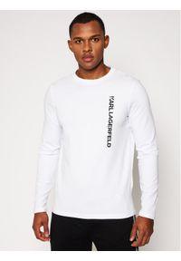 Biała koszulka z długim rękawem Karl Lagerfeld z dekoltem karo