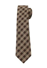 Alties - Brązowo-Beżowy Elegancki Krawat w Kratkę -ALTIES- 6 cm, Męski. Kolor: beżowy, brązowy, wielokolorowy. Materiał: tkanina. Wzór: kratka. Styl: elegancki