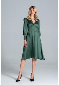 Figl - Rozkloszowana Satynowa Sukienka z Długim Bufiastym Rękawem - Zielona. Kolor: zielony. Materiał: satyna