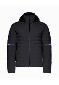 Czarna kurtka narciarska Toni Sailer z kontrastowym kołnierzykiem, Primaloft, w prążki