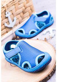 Casu - niebieskie sandały na rzep casu jf22. Zapięcie: rzepy. Kolor: niebieski