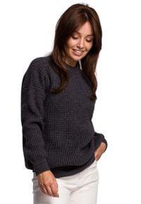 MOE - Sweter Oversize o Przedłużonym Kroju - Grafitowy. Kolor: szary. Materiał: poliamid, wełna, akryl