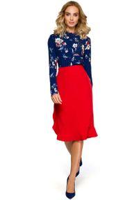 Czerwona spódnica ołówkowa MOE elegancka