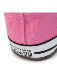 Różowe półbuty Converse na rzepy, z cholewką