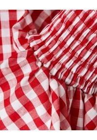 Balmain - BALMAIN - Krótka bluzka w kratkę. Okazja: na imprezę. Kolor: czerwony. Materiał: bawełna. Długość: krótkie. Wzór: kratka #5