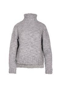 Szary sweter VEVA w kolorowe wzory, elegancki