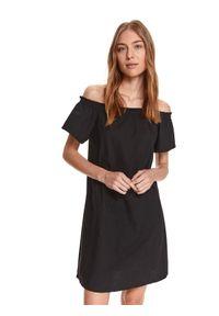 TOP SECRET - Krótka sukienka cold shoulder. Kolor: czarny. Materiał: bawełna, tkanina. Długość rękawa: krótki rękaw. Typ sukienki: z odkrytymi ramionami. Długość: mini