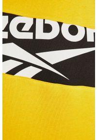 Żółta bluza nierozpinana Reebok Classic z nadrukiem, na co dzień, casualowa, z kapturem