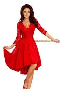 Numoco - Wieczorowa Asymetryczna Sukienka z Koronką - Czerwona. Kolor: czerwony. Materiał: koronka. Wzór: koronka. Typ sukienki: asymetryczne. Styl: wizytowy