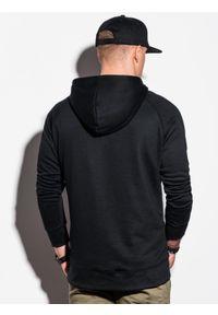 Ombre Clothing - Bluza męska z kapturem B1085 - czarna - XXL. Typ kołnierza: kaptur. Kolor: czarny. Materiał: poliester, bawełna