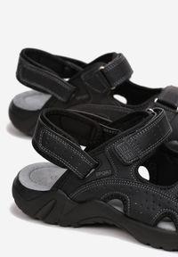 Born2be - Czarne Sandały Orphaxise. Nosek buta: otwarty. Zapięcie: rzepy. Kolor: czarny. Materiał: skóra. Styl: sportowy, wakacyjny