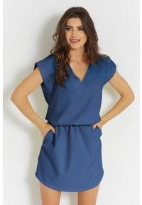 e-margeritka - Sukienka mini z dekoltem niebieska - 34. Kolor: niebieski. Materiał: tkanina, poliester, materiał. Długość: mini