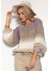 e-margeritka - Sweter kolorowy na wiosnę z szerokimi rękawami - s/m. Materiał: wełna, poliakryl, materiał. Wzór: kolorowy. Sezon: wiosna