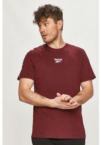 Brązowy t-shirt Reebok casualowy, na co dzień, z nadrukiem
