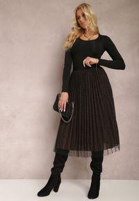 Renee - Czarno-Złota Spódnica Voloelle. Kolor: czarny. Materiał: dzianina. Styl: glamour, klasyczny, elegancki