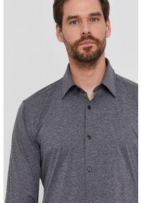 Hugo - Koszula. Typ kołnierza: kołnierzyk klasyczny. Kolor: szary. Materiał: dzianina, tkanina. Wzór: gładki. Styl: klasyczny