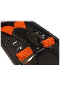 Modini - Pomarańczowe szelki męskie do spodni SZ7. Kolor: pomarańczowy. Materiał: skóra, guma