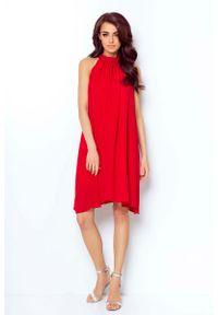 Czerwona sukienka na wesele IVON z dekoltem halter, wizytowa