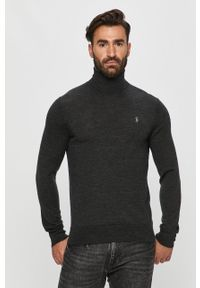 Szary sweter Polo Ralph Lauren na co dzień, polo, z długim rękawem